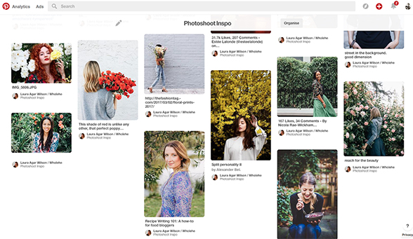 screenshot of Pinterest board used for lifestyle headshot inspiration